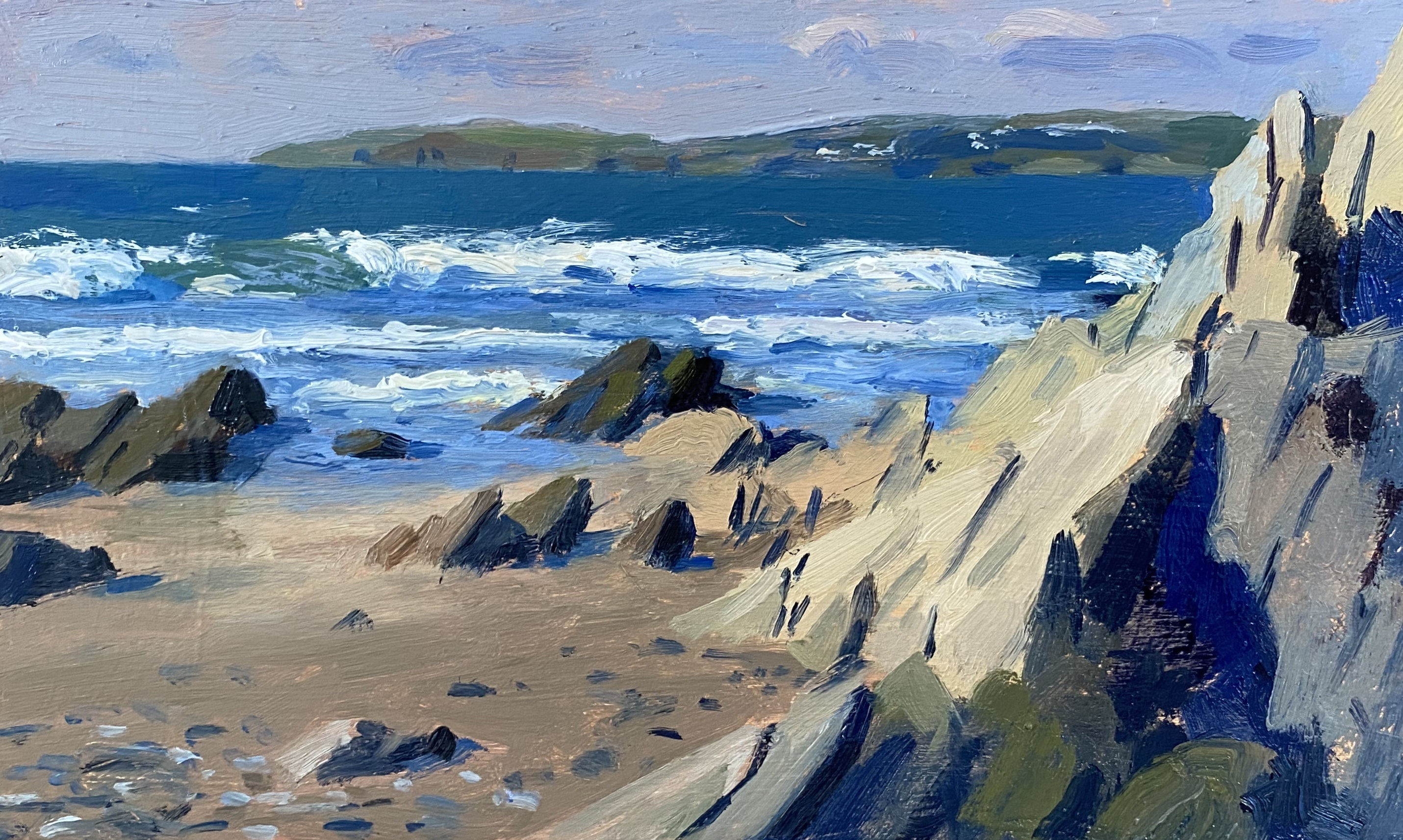 Daisy's painting 'Crashing Waves, Pendower Beach' was exhibited with The Royal Society of Marine Artists