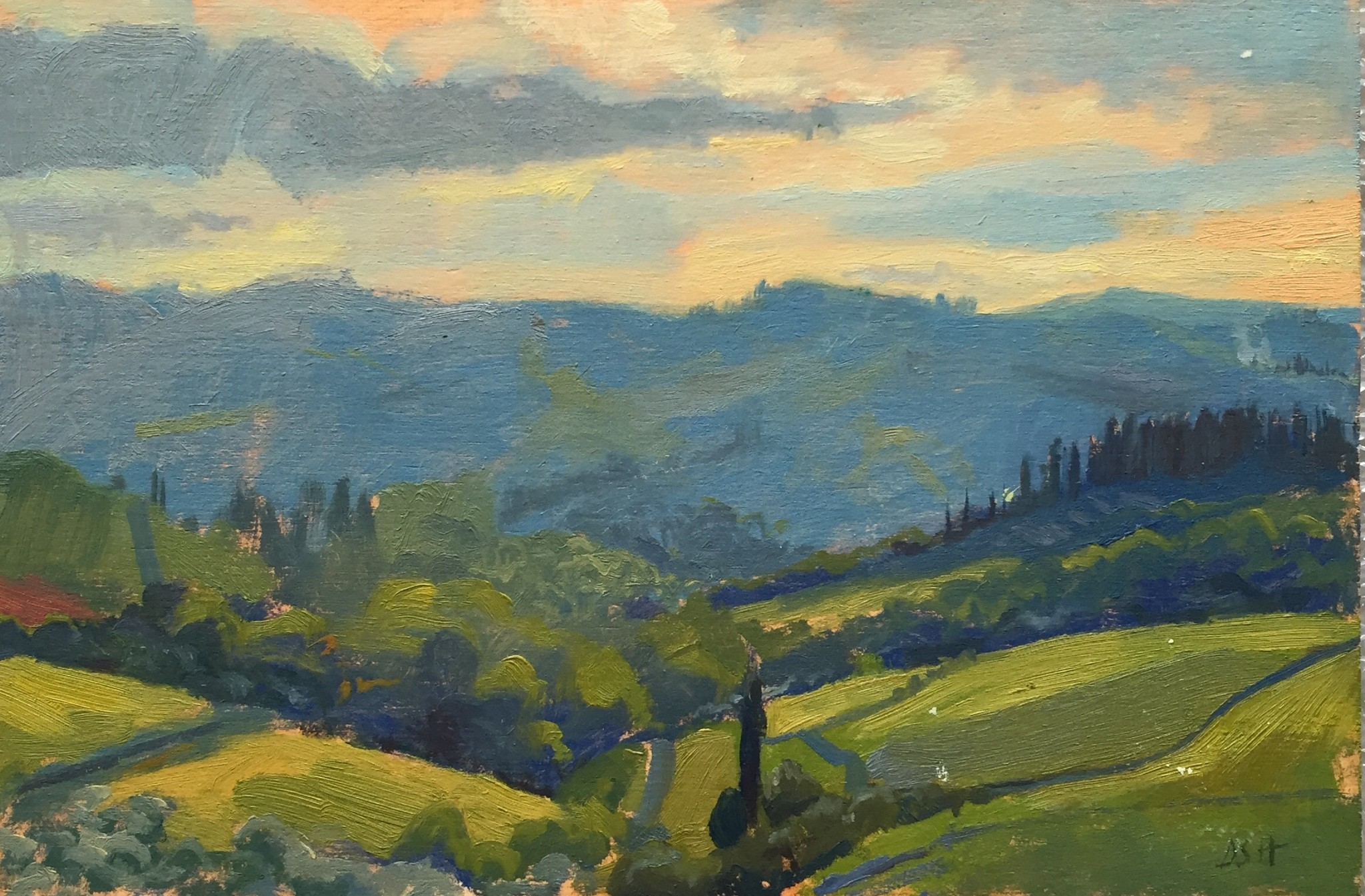 Evening light over the valley , Panzano