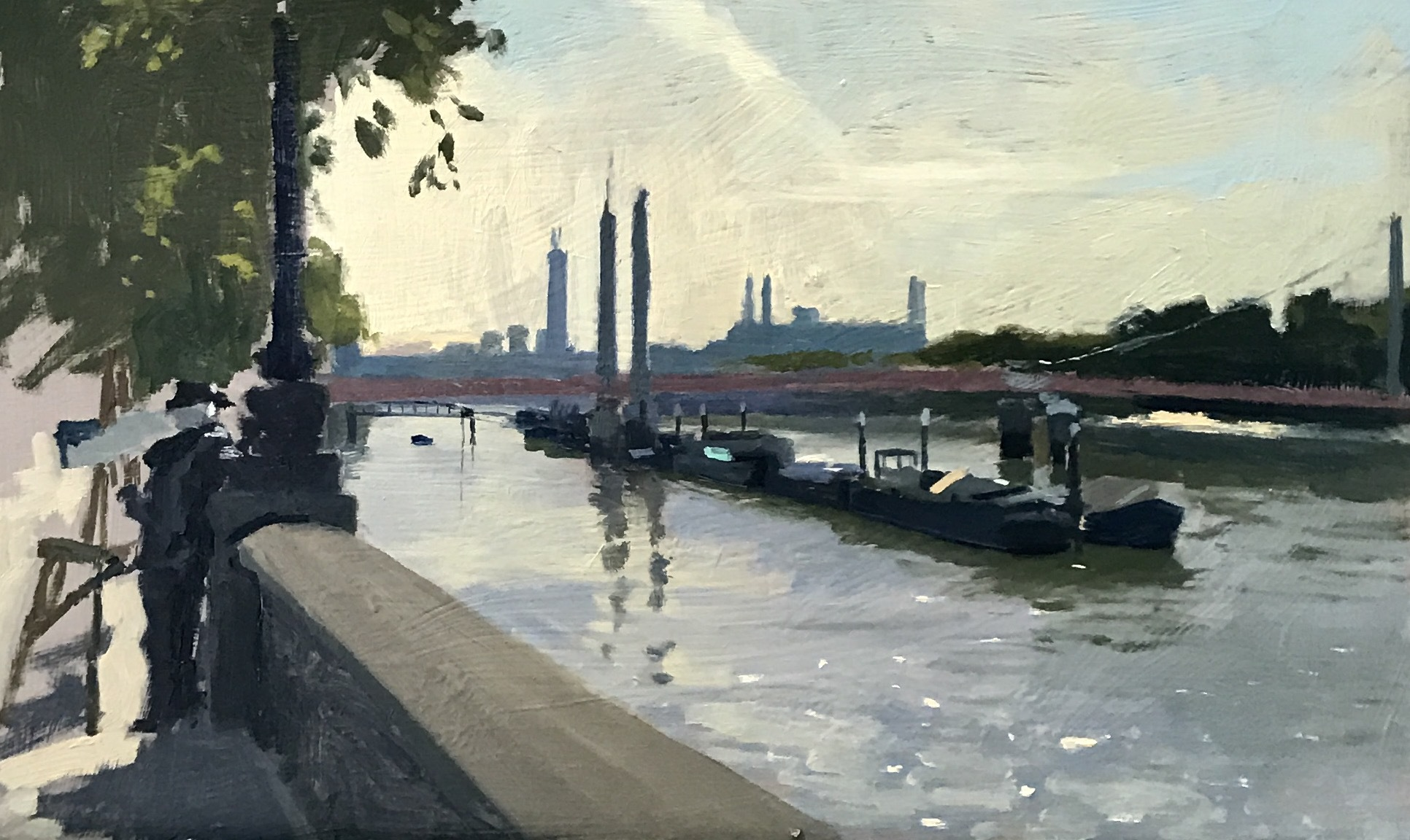 Ken Howard Painting in the Early Hours along the Embankment