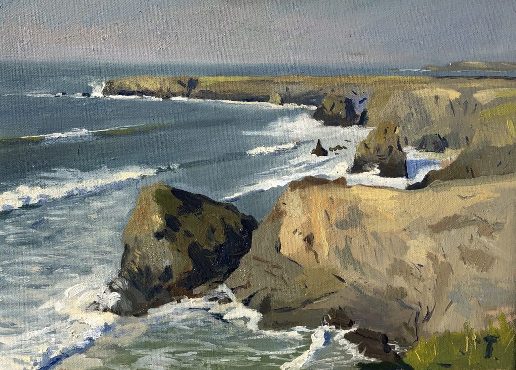 High Tide and Crashing Waves by the Bedruthan Steps
