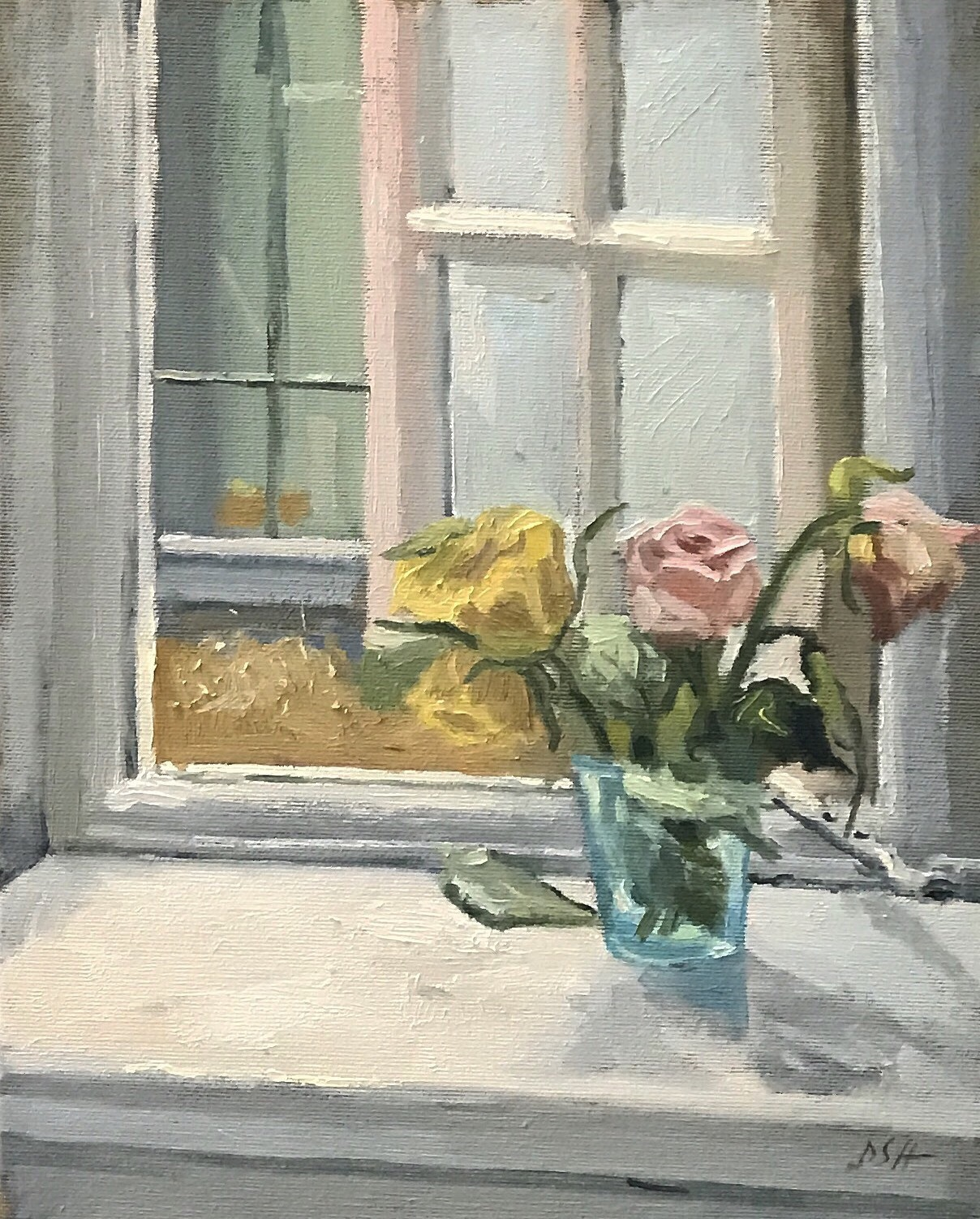 Roses in a Blue Glass