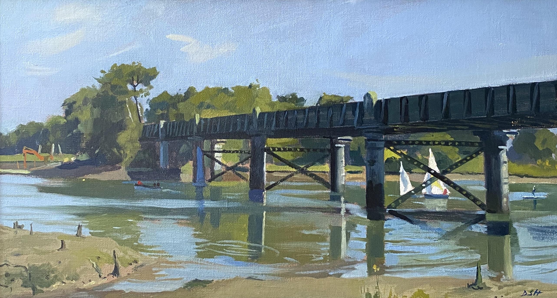 Sailing Boats Under The Old Railway Bridge, On The Hamble