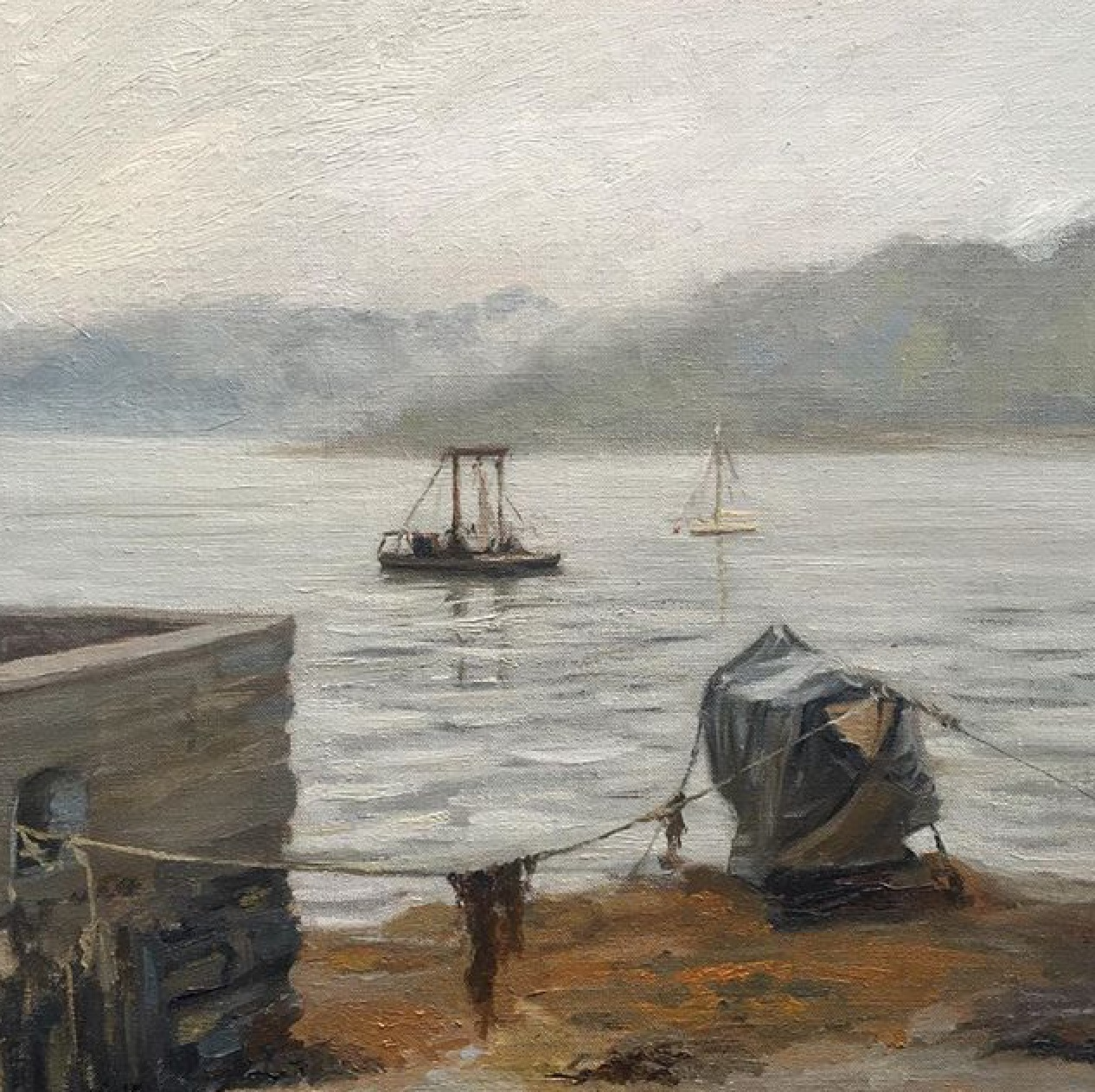 Misty Morning by the Percuil Boat Yard