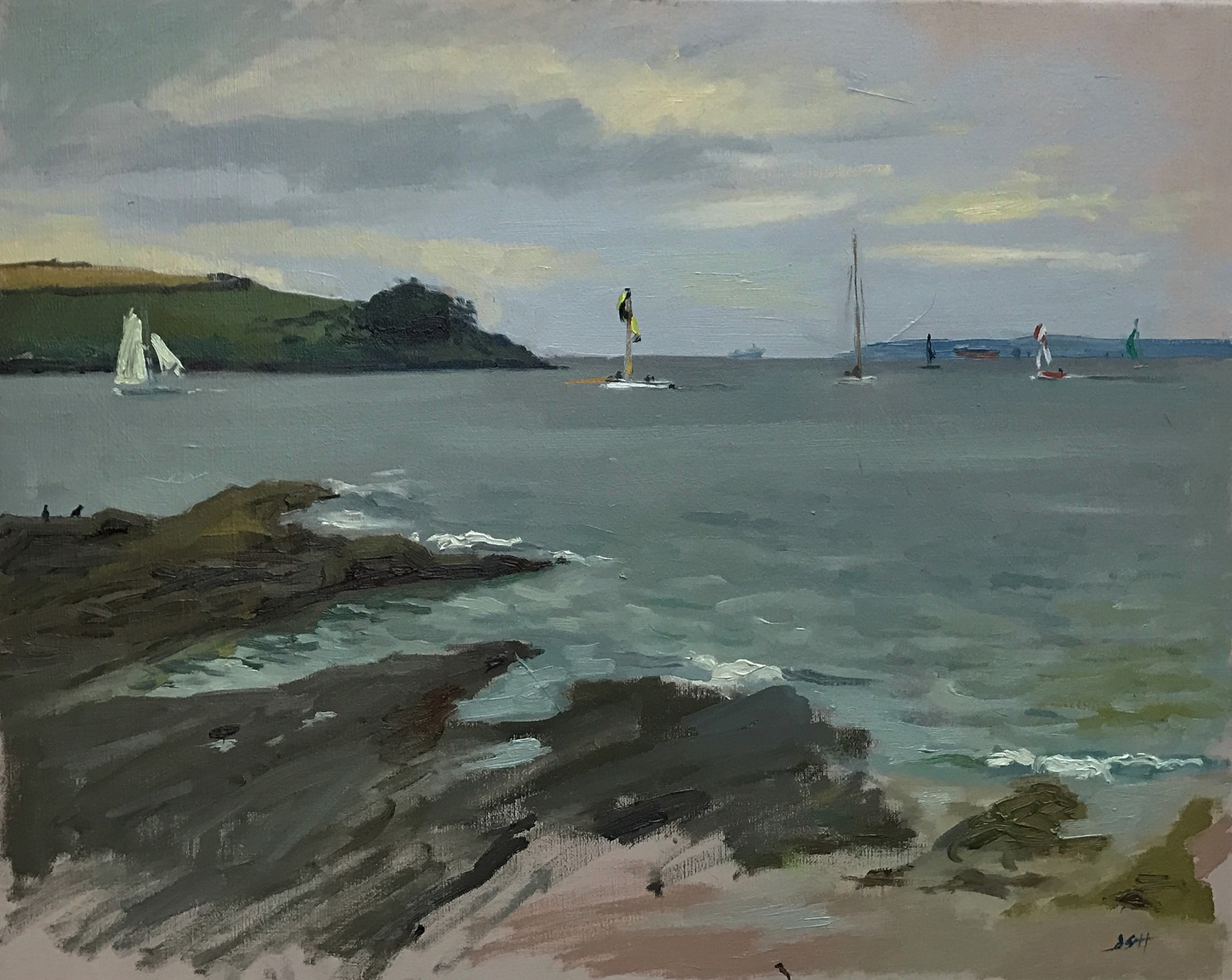 Working boats off the Tresanton Beach