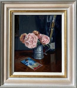 Peonies in a Pewter Tankard with Sorolla postcard