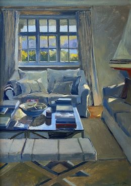 Late Afternoon Light Interior with Red Sailing Boat