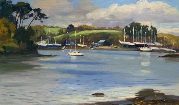 St Just Creek and Pascoes boat yard, Autumnal light