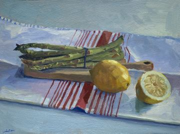 Asparagus and Lemons with Stripey Towel