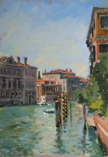 Afternoon View from a Gondola pier by the Accademia Bridge