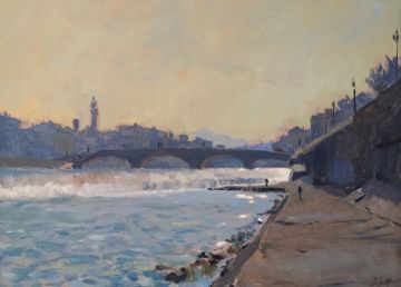 Morning light by the Arno River