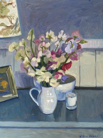 Sweet Peas in a White Jug