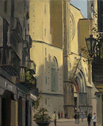 Shadows creeping up the Church of Santa Maria del Mar