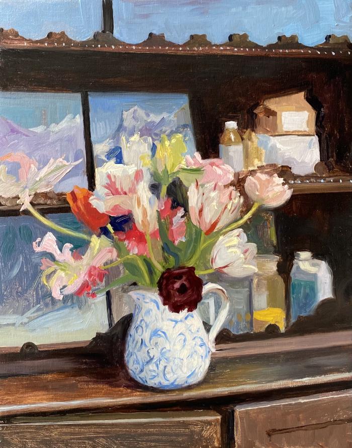 Parrot Tulips with studies of the Wetterhorn in the studio