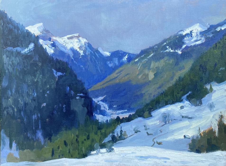 Shadows and distant blues, Grindelwald valley
