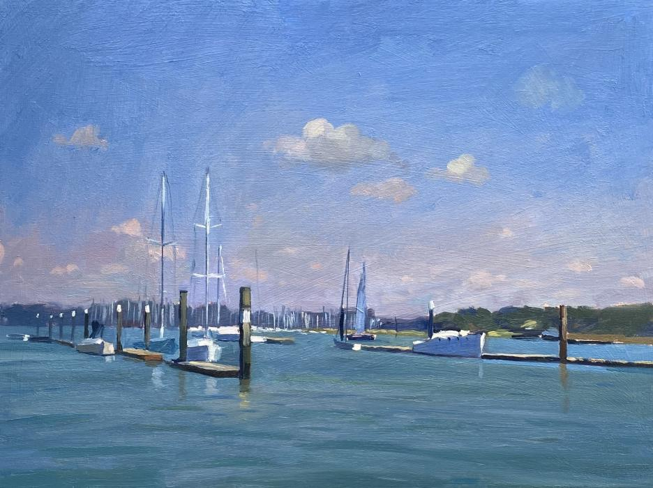 Boats on the Hamble River From A Pontoon